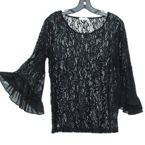 Pleione Top Blouse Bell Sleeve Lace Black Small CL